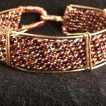 "Copper and enameled copper hand woven bracelet.  3/4"" wide.  easy clasp, does not need polishing.  $80.00"